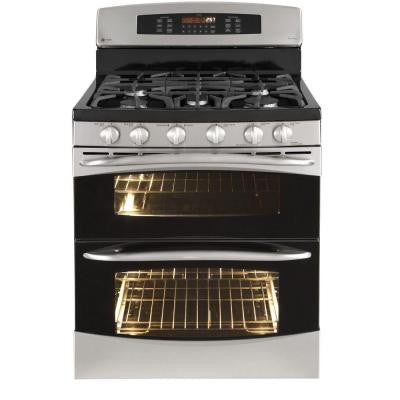 Profile 6.7 cu. ft. Double Oven Gas Range with Self-Cleaning Convection Oven in Stainless Steel