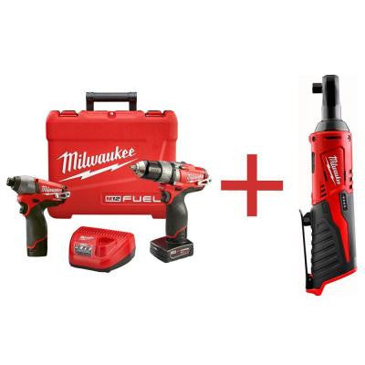 M12 FUEL 12-Volt Lithium-Ion 1/2 in. Cordless Hammer Drill/Impact Combo Kit with M12 3/8 in. Ratchet (Tool-Only)