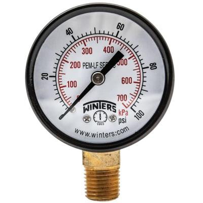 PEM-LF Series 2 in. Lead-Free Brass Pressure Gauge with 1/8 in. NPT LM and 0-100 psi/kPa
