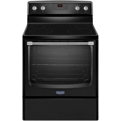 AquaLift 6.2 cu. ft. Electric Range with Self-Cleaning Oven in Black with Stainless Steel Handle