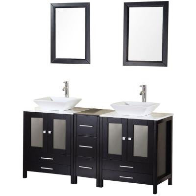Arlington 61 in. W x 22 in. D Vanity in Espresso with Marble Vanity Top and Mirror in Carrera White