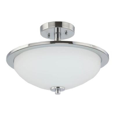 Replay Collection 1-Light Brushed Nickel LED Semi-Flush Mount Light