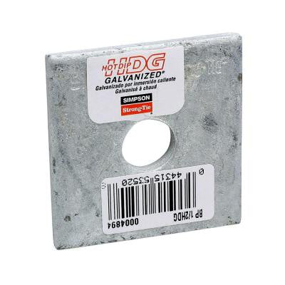 2 in. x 2 in. Hot-Dip Galvanized Bearing Plate with 1/2 in. Dia. Bolt