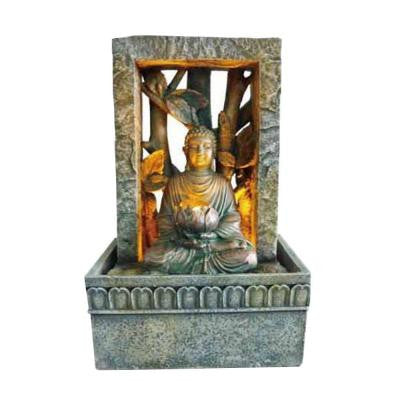 9 in. Antique Brass Tabletop Buddha LED Fountain