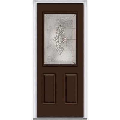 36 in. x 80 in. Heirloom Master Decorative Glass 1/2 Lite Painted Builder's Choice Steel Prehung Front Door