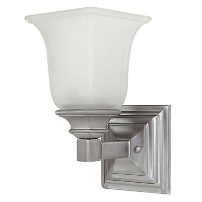 Alex 1-Light Matte Nickel Sconce with Acid Washed Glass