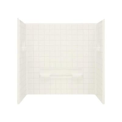 Advantage 35-1/4 in. x 60 in. x 59-1/4 in. 3-piece Direct-to-Stud Shower Wall Set in Biscuit