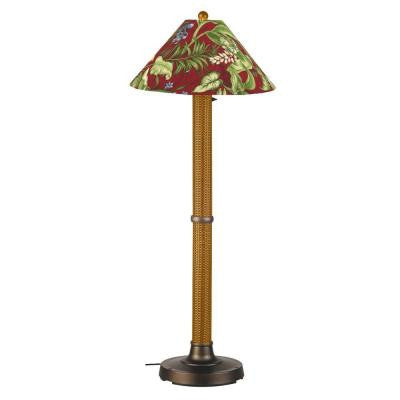 Bahama Weave 60 in. Mocha Cream Floor Lamp with Lacquer Shade