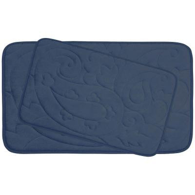 Pelton Dusty Blue 20 in. x 32 in. Memory Foam 2-Piece Bath Mat Set