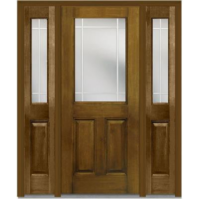 60 in. x 80 in. Classic Clear Glass PIM 1/2-Lite Finished Mahogany Fiberglass Prehung Front Door with Sidelites