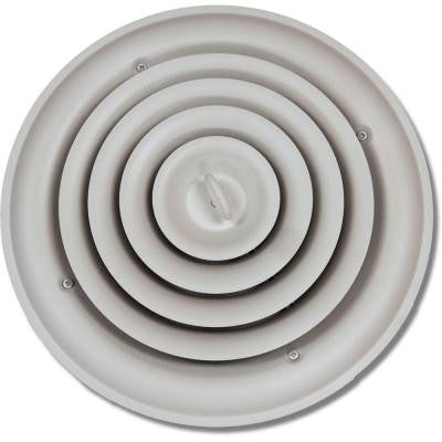10 in. Round Ceiling Air Vent Register, White with Fixed Cone Diffuser and Bowtie Damper