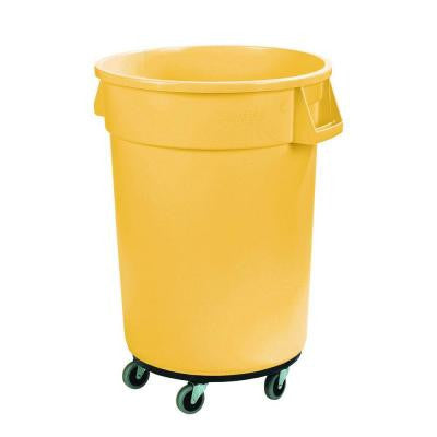 Bronco 32 Gal. Yellow Round Trash Can with Dolly (4-Pack)