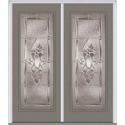 64 in. x 80 in. Heirloom Master Decorative Glass Full Lite Painted Fiberglass Smooth Double Prehung Front Door