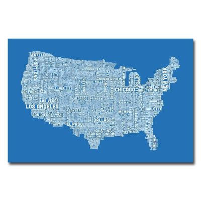 16 in. x 24 in. US City Map XIII Canvas Art