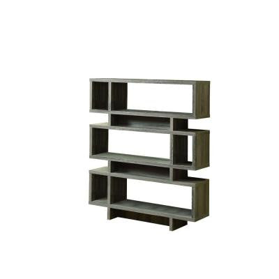 55 in. H 4-Shelf Reclaimed-Look Modern Bookcase in Dark Taupe