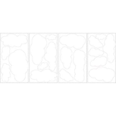 10 in. x 18 in. Clouds (White Bkgnd) 19-Piece Peel and Stick Wall Decals
