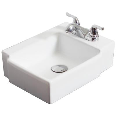 16.25-in. W x 12-in. D Wall Mount Rectangle Vessel Sink In White Color For 4-in. o.c. Faucet