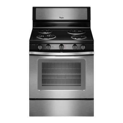 30 in. 4.8 cu. ft. Electric Range with High-Heat Self-Cleaning Oven in Stainless Steel