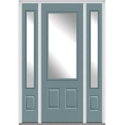 64 in. x 96 in. Classic Clear Glass 3/4-Lite Painted Fiberglass Smooth Prehung Front Door with Sidelites