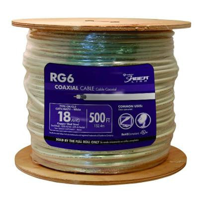 500 ft. RG6 18 AWG Coaxial Cable White
