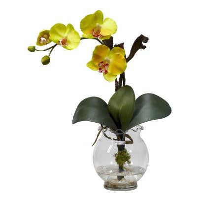 15 in. H Yellow Mini Phalaenopsis with Fluted Vase Silk Flower Arrangement