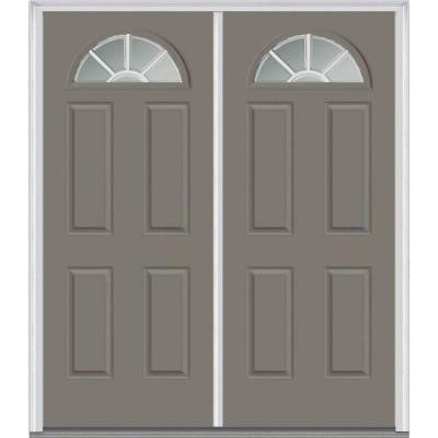 64 in. x 80 in. Classic Clear Glass GBG 1/4-Lite Painted Fiberglass Smooth Double Prehung Front Door