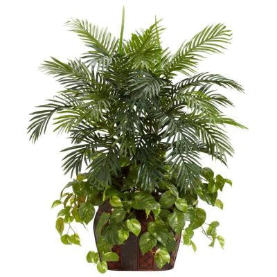 3.5 ft. Green Double Areca with Vase and Pothos Silk Plant