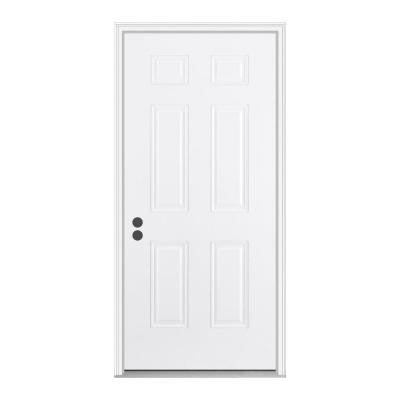32 in. x 80 in. 6-Panel Primed White Fiberglass Prehung Front Door with Brickmould