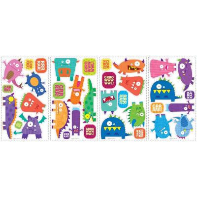 10 in. x 18 in. Monsters 35-Piece Peel and Stick Wall Decals