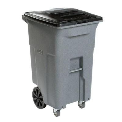 96 Gal. Grey Wheeled Trash Can with Casters