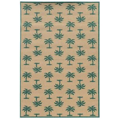 Mia Natural/Teal 8 ft. 6 in. x 13 ft. Area Rug