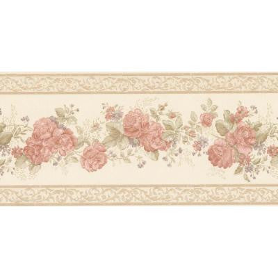 5.75 in. W x 180 in. H Tiff Peach Satin Floral Border