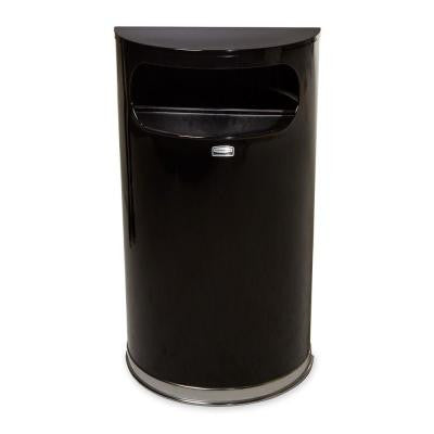 9 Gal. Black/Chrome Half-Round Open Side Fire-Safe Trash Can