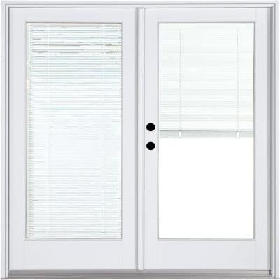 71-1/4 in. x 79-1/2 in. Composite White Right-Hand Inswing Hinged Patio Door with Low-E Blinds Between Glass