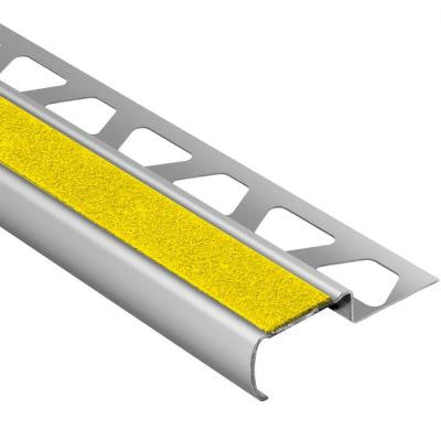 Trep-G-S Brushed Stainless Steel/Yellow 7/16 in. x 4 ft. 11 in. Metal Stair Nose Tile Edging Trim