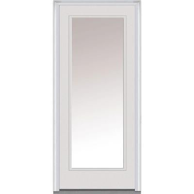 34 in. x 80 in. Classic Clear Glass Full Lite Primed White Fiberglass Smooth Prehung Front Door