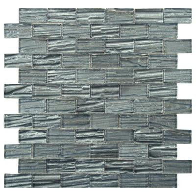 Aspen Subway Blue 12-1/2 in. x 12-1/2 in. x 5 mm Glass Mosaic Wall Tile