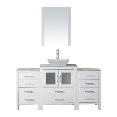 Dior 60 in. Double Vanity in White with Marble Vanity Top in White and Mirrors