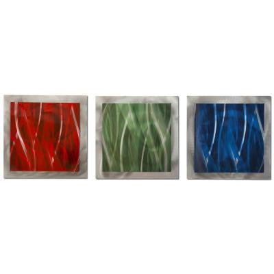 Brevium 12 in. x 38 in. Red, Green and Blue Essence Metal Wall Art (Set of 3)