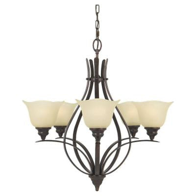 Morningside 5-Light Grecian Bronze Single-Tier Chandelier
