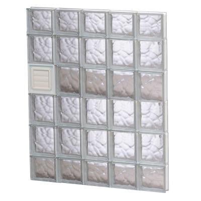 28.75 in. x 42.5 in. x 3.125 in. Wave Pattern Glass Block Window with Dryer Vent
