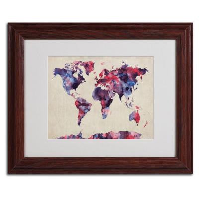 11 in. x 14 in. Watercolor Map Matted Framed Art