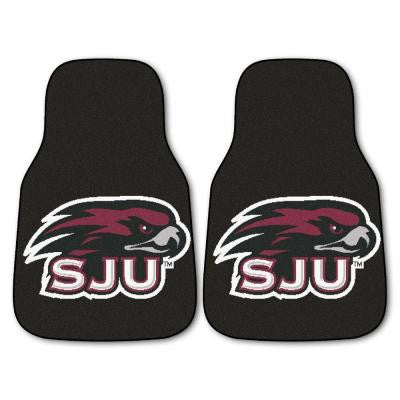 NCAA St. Joseph's University Heavy Duty 2-Piece 18 in. x 27 in. Nylon Carpet Car Mat