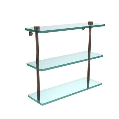 16 in. W x 16 in. L Triple Tiered Glass Shelf in Venetian Bronze