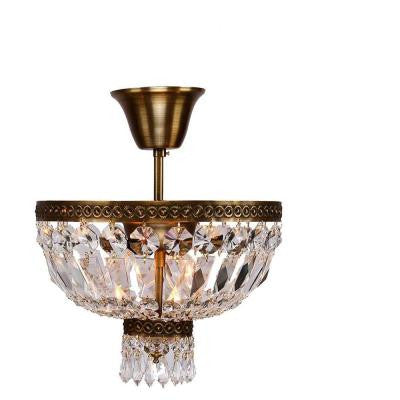 Metropolitan Collection 1-Light Antique Bronze and Clear Crystal Semi-Flush Mount Light