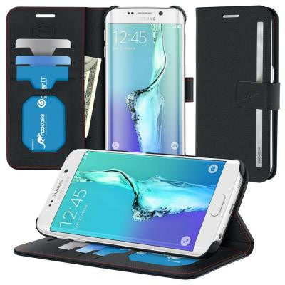 Prestige Wallet Case and Folio Flip Cover with Stand for Galaxy S6 Edge