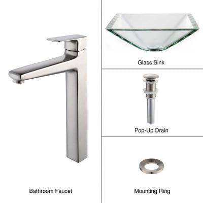 Vessel Sink in Clear Glass Aquamarine with Virtus Faucet in Brushed Nickel