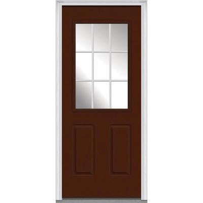 32 in. x 80 in. Classic Clear Glass GBG 1/2-Lite Painted Builder's Choice Steel Prehung Front Door