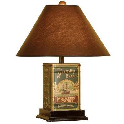 21 in. Brown Nostalgic Molasses Candy Tin Canister Table Lamp with Shade