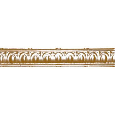 3-1/2 in. x 4 ft. x 3-1/2 in. Satin Brass Nail-up/Direct Application Tin Ceiling Cornice (6-Pack)